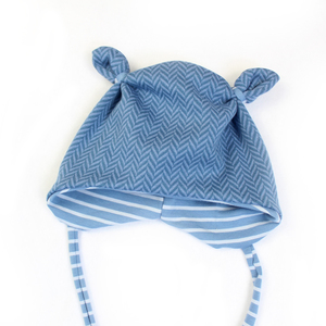 """BIO Mütze  """"Jacquard blau"""" - Sternchenwolke"""