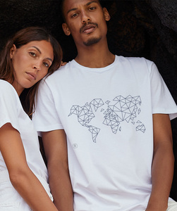 T-Shirt mit Motiv / Blue Worldmap - Kultgut
