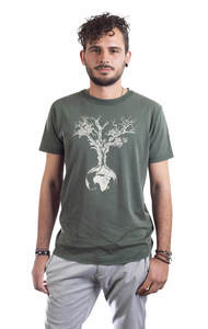 Fairwear Organic Shirt Men Stone Washed Green Weltenbaum - Life-Tree