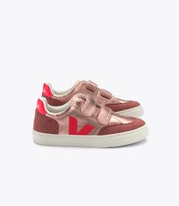Sneaker Kinder - Small V-12 Velcro Leather -  Nacre Rose Fluo - Veja