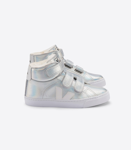 Sneaker Kinder - Esplar Mid Fured Leather - Unicorn White White Sole  - Veja