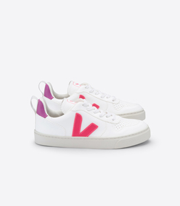 Sneaker Vegan V-10 Lace - White Rose Fluo Ultraviolet - Kids - Veja