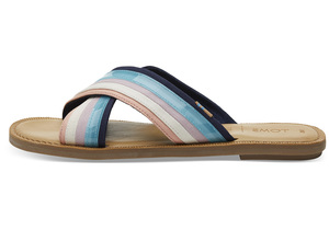Blaue Multicolour Canvas Viv Sandalen - Toms