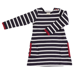 Kleid Breton Stripe Langarm - Organcis for kids Pigeon