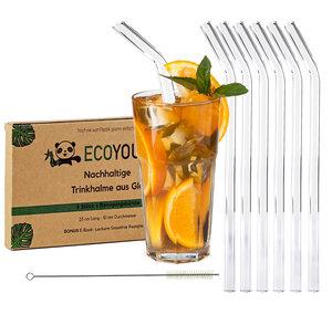 EcoYou® Glas Trinkhalme gebogen + Natur Bürste 6x23cm Strohhalme Glas - EcoYou