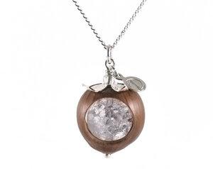 Naturschmuck Haselnuss Bronze Halskette mit Edelstein (Bergkristall) - Zimelie