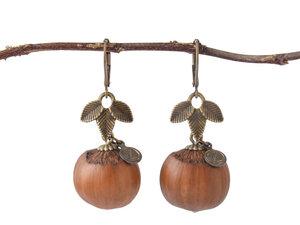 Holzschmuck Pure Haselnuss Ohrringe in Bronze | Naturschmuck - Zimelie