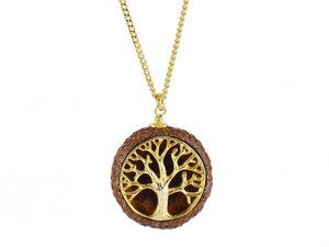 Naturschmuck Eichelhut Halskette Lebensbaum Echtsilber vergoldet - Zimelie