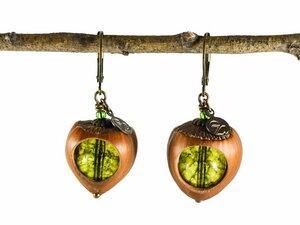 Klare Haselnuss Ohrringe Moosgrün Bronze; Echtsilber; Echtsilber vergoldet oder rosßevergoldet - Zimelie