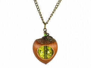 Klare Haselnuss Kette Moosgrün | Bronze; Rosé; Gold oder Echtsilber - Zimelie