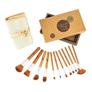 12er Kosmetikpinsel Set aus Bambus inkl. Tasche | Pinsel Schminkpinsel - Bambuswald