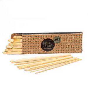 16x Häkelnadeln aus Bambus | ca. 15cm - Bambuswald