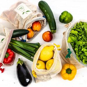 Wiederverwendbare Obst- & Gemüsebeutel aus Baumwolle 4er Set - Skojig
