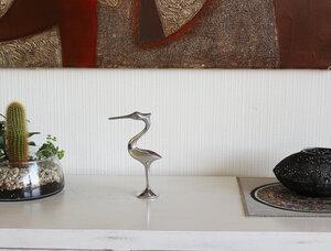 Dekofigur Storch, Geschenkidee zur Geburt aus Zinn - Mitienda Shop