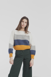 Gestreifter Strickpullover - knitted sweater - thinking mu