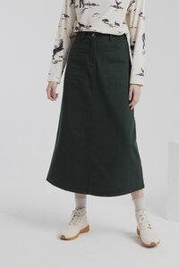 langer Jeansrock- scarab green valentina long skirt- grün - thinking mu