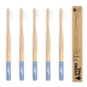 Zahnbürste aus Bambus   4erPack   mittelweich   hellblau - HYDROPHIL