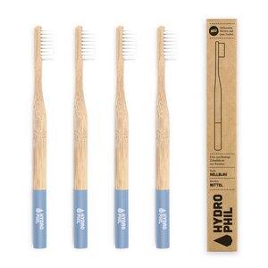 Zahnbürste aus Bambus | 4erPack | mittelweich | hellblau - HYDROPHIL