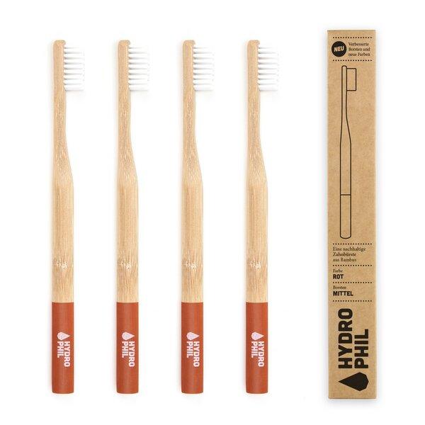 Zahnbürste Aus Bambus | 4erpack | Mittelweich | Rot
