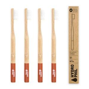 Zahnbürste aus Bambus | 4erPack | mittelweich | rot - HYDROPHIL