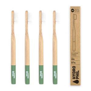 Zahnbürste aus Bambus | 4erPack | mittelweich | grün - HYDROPHIL