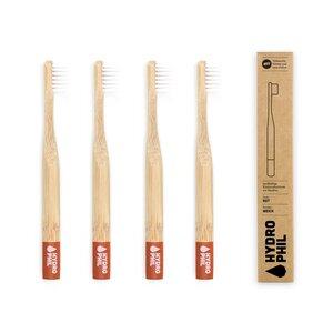 Kinder Zahnbürste aus Bambus |Pack | extra weich | rot - HYDROPHIL