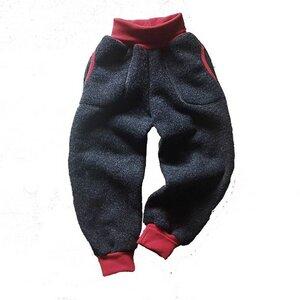 Kinder Wollfleece Hose mit Taschen Anthrazit Rot - Ulalü