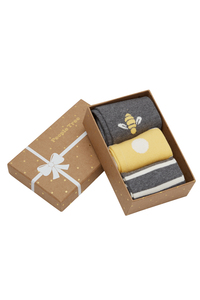 3er Pack Socken - Bee Patterned Socks Set of 3 in box - People Tree