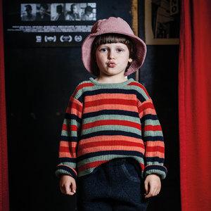 Kinder Streifen Strickpullover (recycelte Wolle) - Manitober