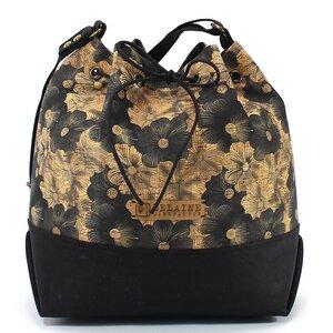 Schwarze Tasche // BUCKET BAG // mit Blumenmuster - Belaine Manufaktur