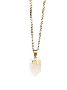 Rosenquarzspitze Halskette von Crystal and Sage - Crystal and Sage