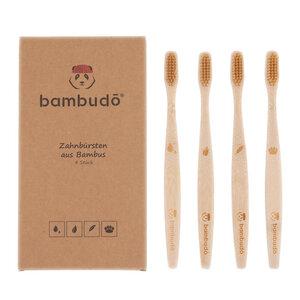 Zahnbürsten aus Bambus von bambudō® im 4er-Pack - bambudō