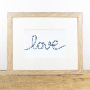Bild mit Echtholzrahmen - Love - Bow & Hummingbird