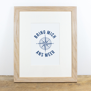 Bild mit Echtholzrahmen - Bring mich ans Meer - Bow & Hummingbird