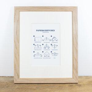 Bild mit Echtholzrahmen - Papierschiffchen - Bow & Hummingbird