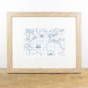 Bild mit Echtholzrahmen - Schatzkarte - Bow & Hummingbird