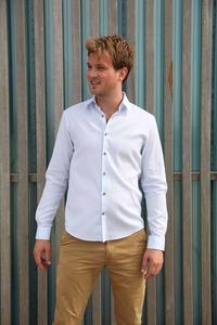 Nachhaltige Langarm Herren Hemd  Blue Fun Slim Fit Bio Baumwolle - SKOT Fashion
