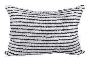 Moderne Leinen Kissenhülle, schwarz-weiss gestreift - Marschall & Riedler