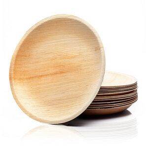 25x runde Palmenteller / Palmblattgeschirr in 4x Größen - Palmenwald