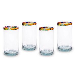 Gläser 4er Set Konfetti Rand | 14,5 cm  - Mitienda Shop