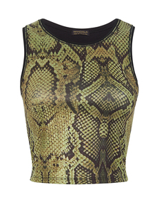 Yoga Shirt - Cropped Top - Snake Print - Mandala