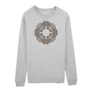 Raglan Sweatshirt - Buddha OWL - Siebdruck - silver grey - Sacred Designs