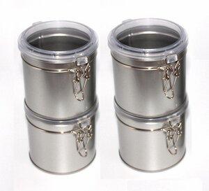 4 Stück * Kleine Silberne Vorratsdose mit durchsichtigem Deckel * Stapelbar * - DS