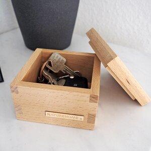 NATUREHOME Handgearbeitete Holzbox Buche mit Deckel für Büro o. Kinderzimmer  - NATUREHOME