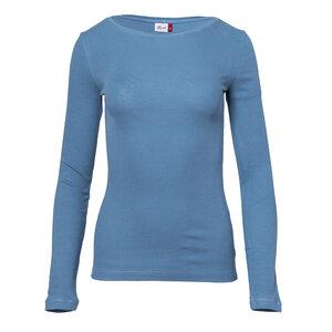 Ripp Langarmshirt aus Bio-Baumwolle - taubenblau - People Wear Organic