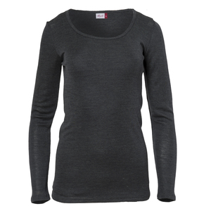 Langarmshirt anthrazit Wolle-Seide mit Bio-Wolle - People Wear Organic