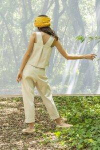 Stoffhose - Shanti Cotton Linen Pants Print– Gelb - Suite 13