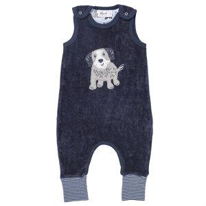 "Strampler dunkelblau Nicki mit Applikation ""Hund"" aus Bio-Baumwolle - People Wear Organic"