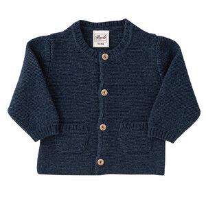 Strickjacke jeansblau melange aus Bio-Baumwolle und Bio-Wolle - People Wear Organic