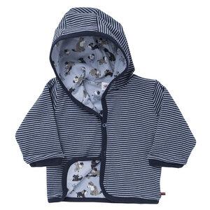 Wendejacke mit Kapuze dunkelblau geringelt aus Bio-Baumwolle - People Wear Organic